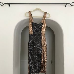 NWT French Connection Black/Copper Sequin Dress